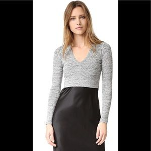 Alice + Olivia AIR Grey Fitted Crop Top